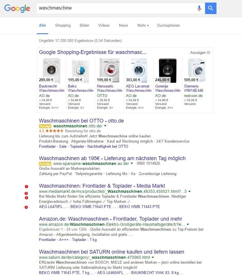 Suchergebnisse einer Google-Suche